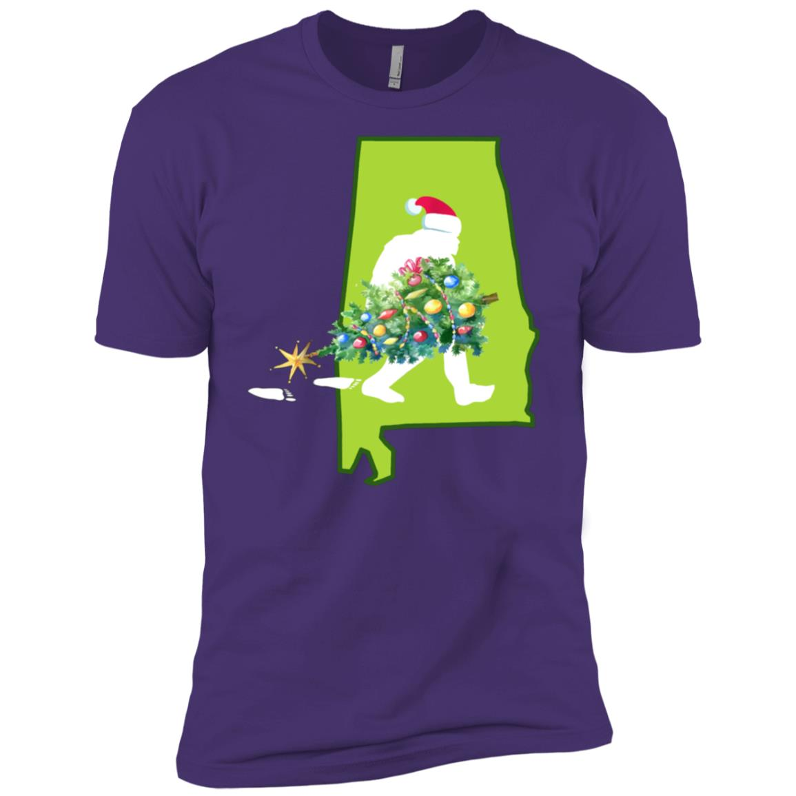 Alabama Bigfoot State Christmas Tree Men Short Sleeve T-Shirt