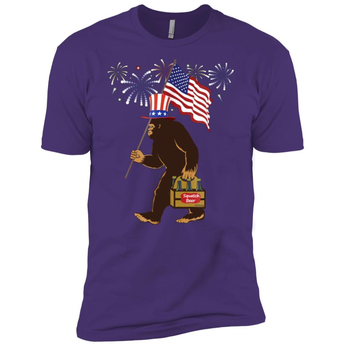 4th of July Bigfoot Sasquatch American Flag Fireworks Men Short Sleeve T-Shirt