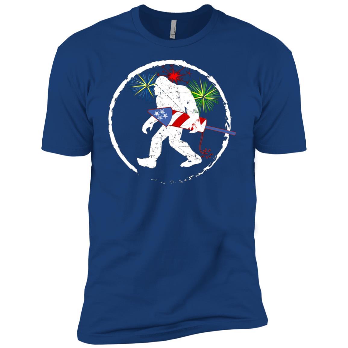 4th Of July Bigfoot Fireworks Patriotic USA Men Short Sleeve T-Shirt