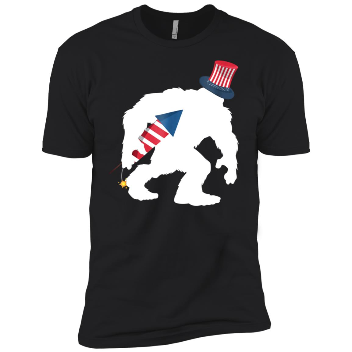 4th July Bigfoot Patriotic Fireworks Sasquatch Men Short Sleeve T-Shirt