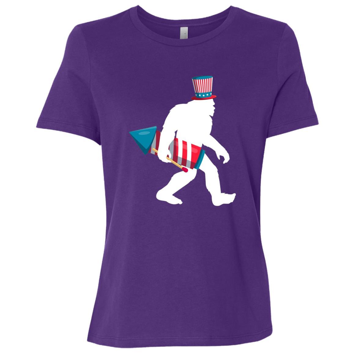 4th of July Sasquatch Bigfoot Fireworks Women Short Sleeve T-Shirt