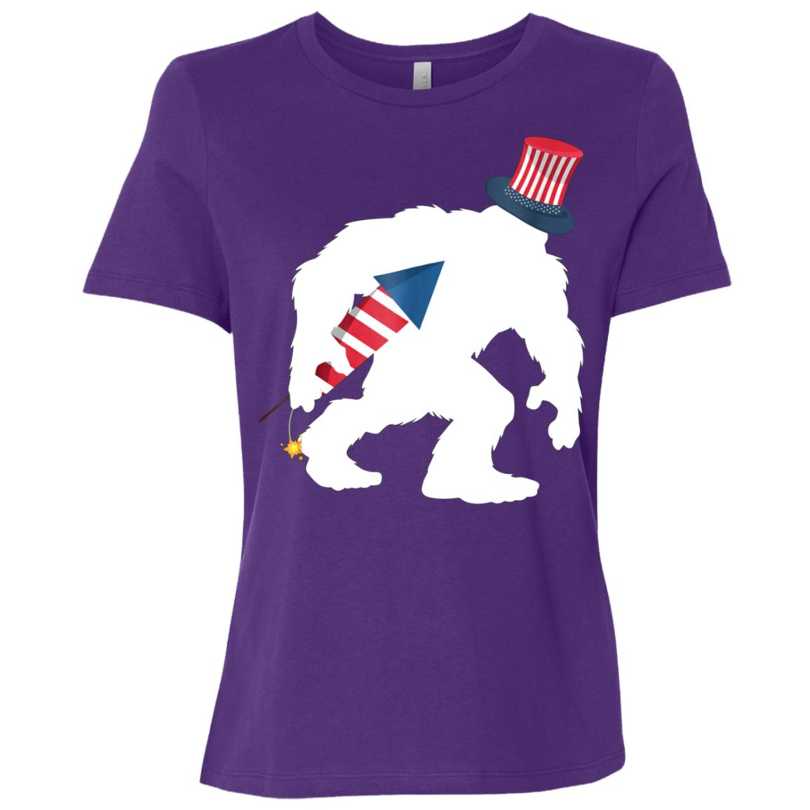 4th July Bigfoot Patriotic Fireworks Sasquatch Women Short Sleeve T-Shirt
