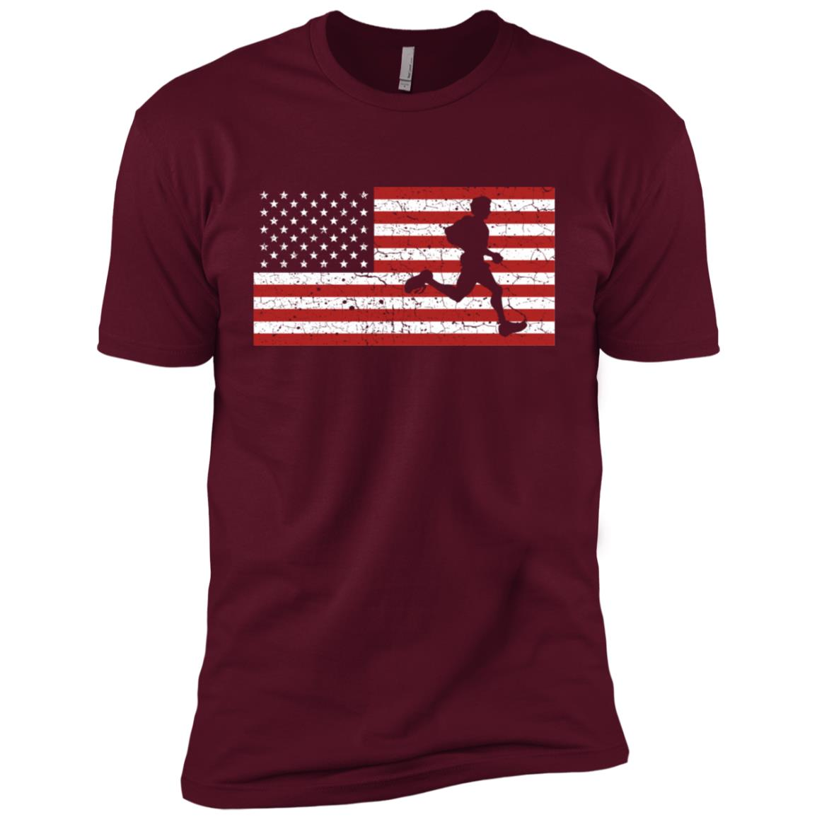 American Flag Running Runner Gift Men Women Men Short Sleeve T-Shirt