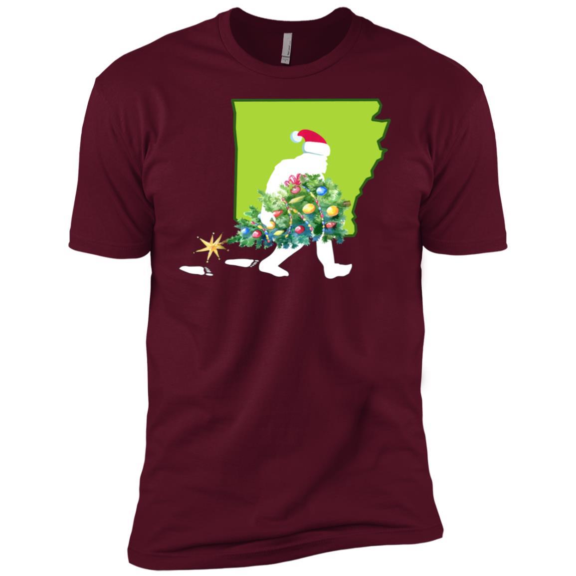 Arkansas Bigfoot State Christmas Tree Men Short Sleeve T-Shirt