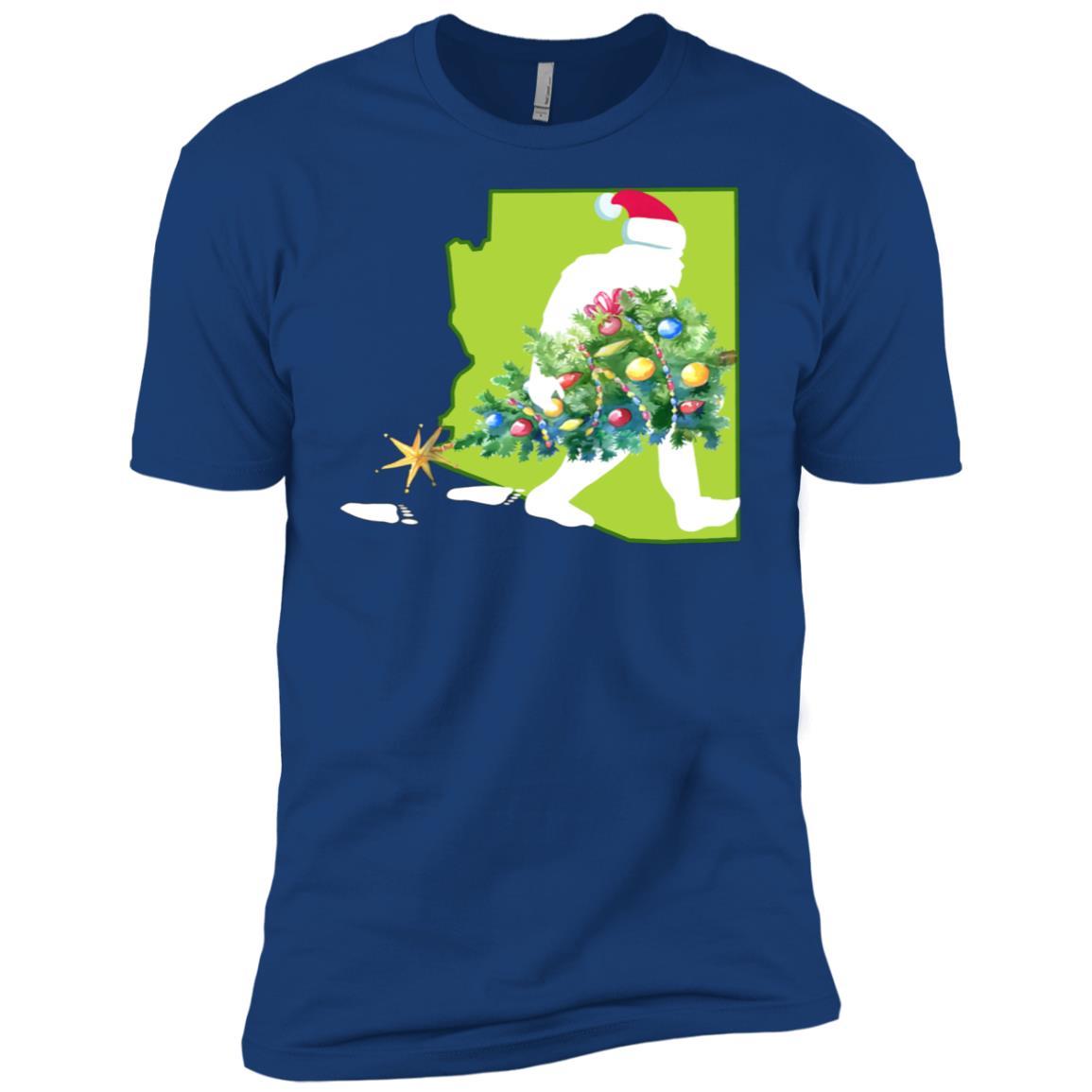 Arizona Bigfoot State Christmas Tree Men Short Sleeve T-Shirt