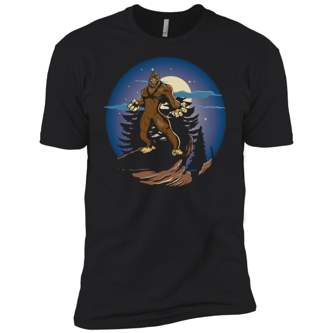 Angry Bigfoot Mountain Moon Hunter Men Short Sleeve T-Shirt
