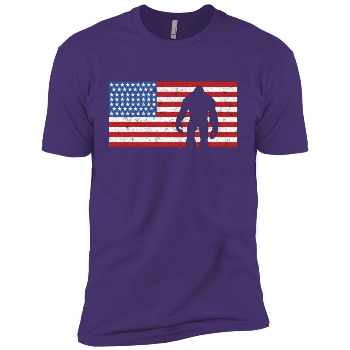 American Flag Bigfoot 4th of July Sasquatch Patriot Men Short Sleeve T-Shirt