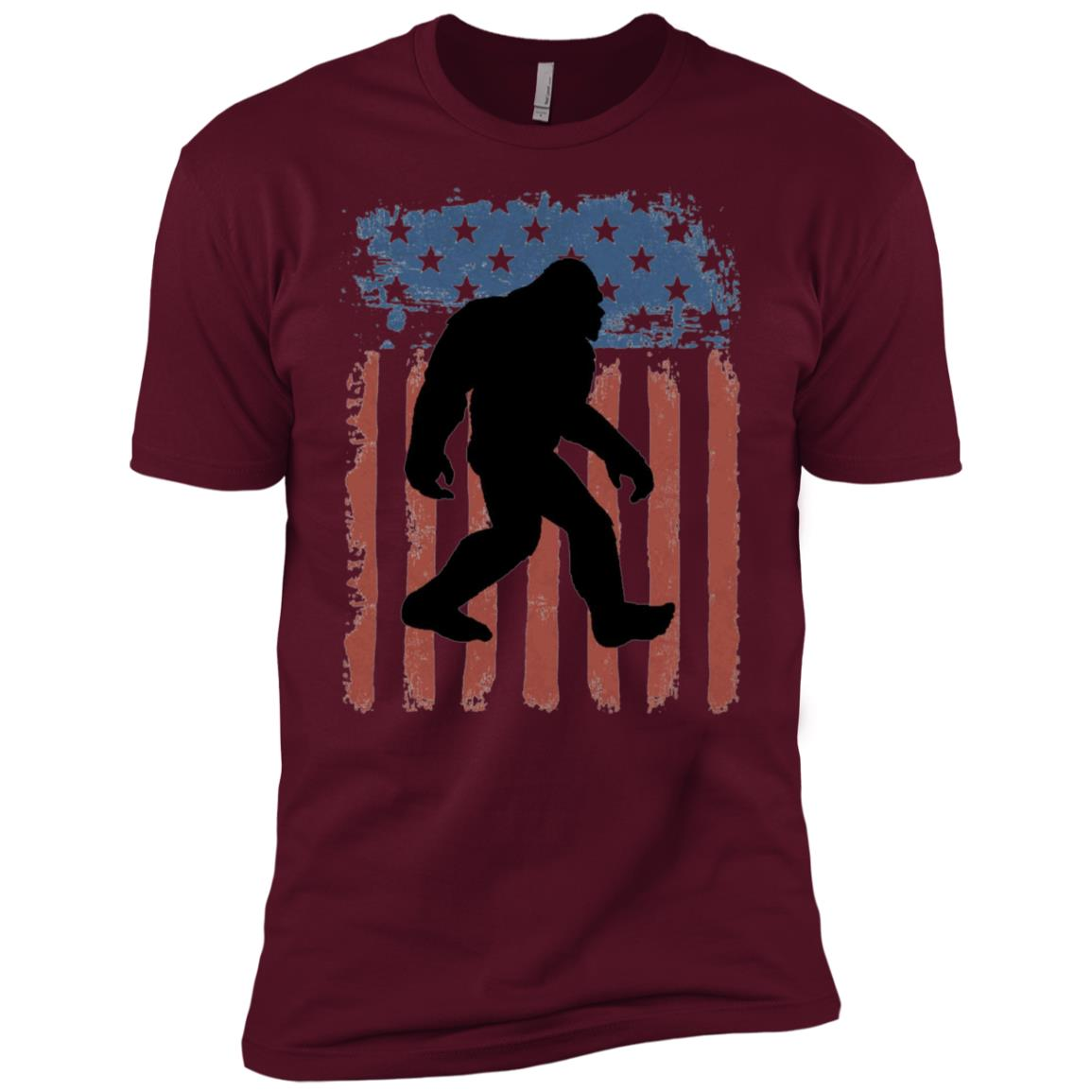 American Flag Bigfoot Silhouette Sasquatch Men Short Sleeve T-Shirt