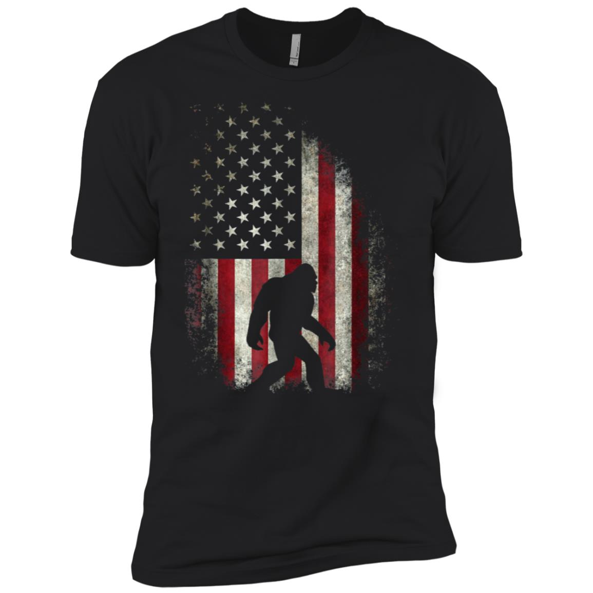 American Flag Bigfoot , Funny 4th of July Sasquatch Men Short Sleeve T-Shirt