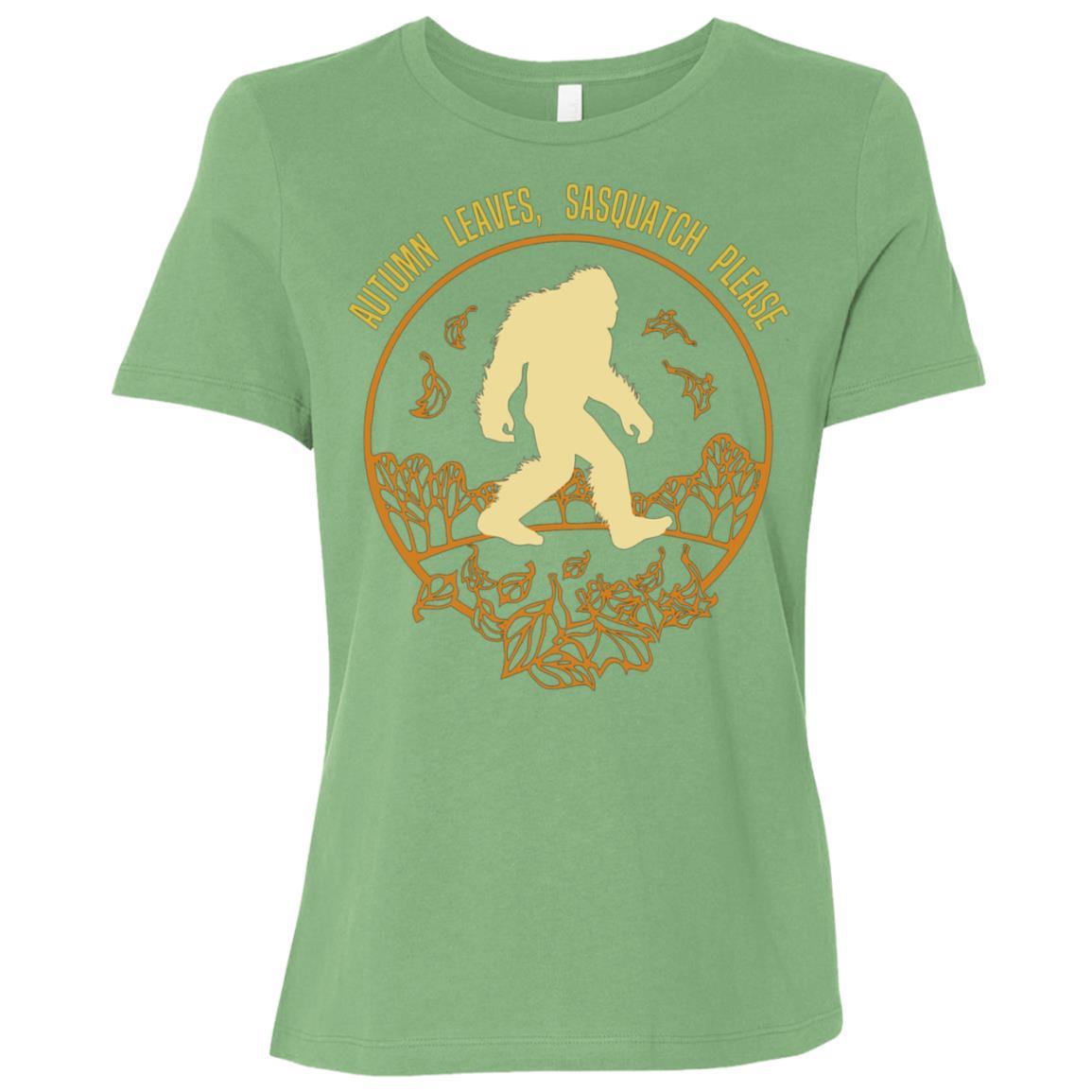 Autumn Sasquatch , Fall Leaves Gift Women Short Sleeve T-Shirt