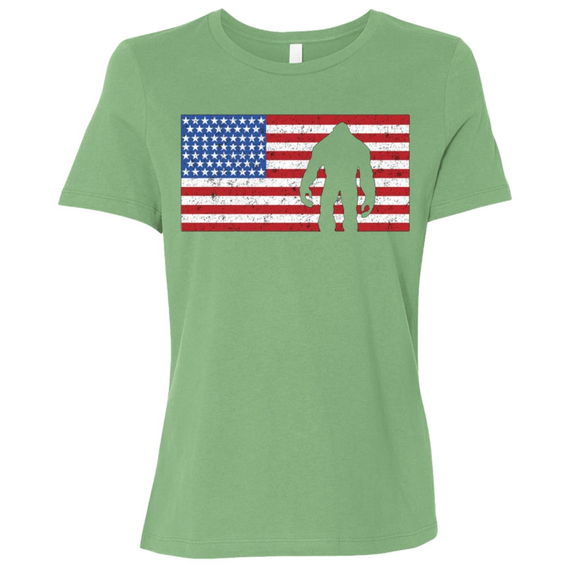 American Flag Bigfoot 4th of July Sasquatch Patriot Women Short Sleeve T-Shirt