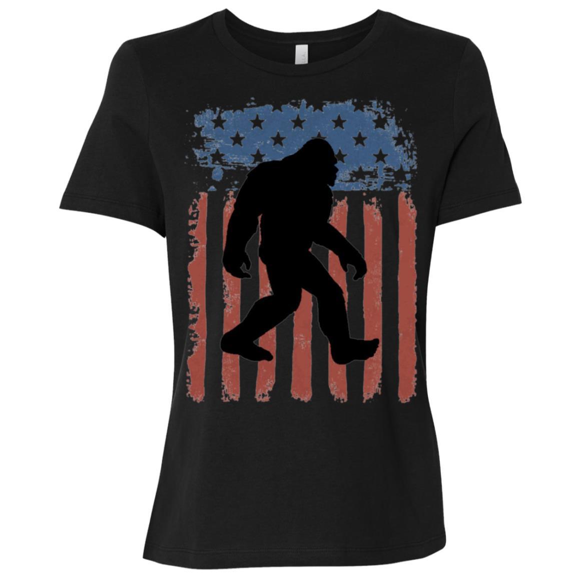 American Flag Bigfoot Silhouette Sasquatch Women Short Sleeve T-Shirt