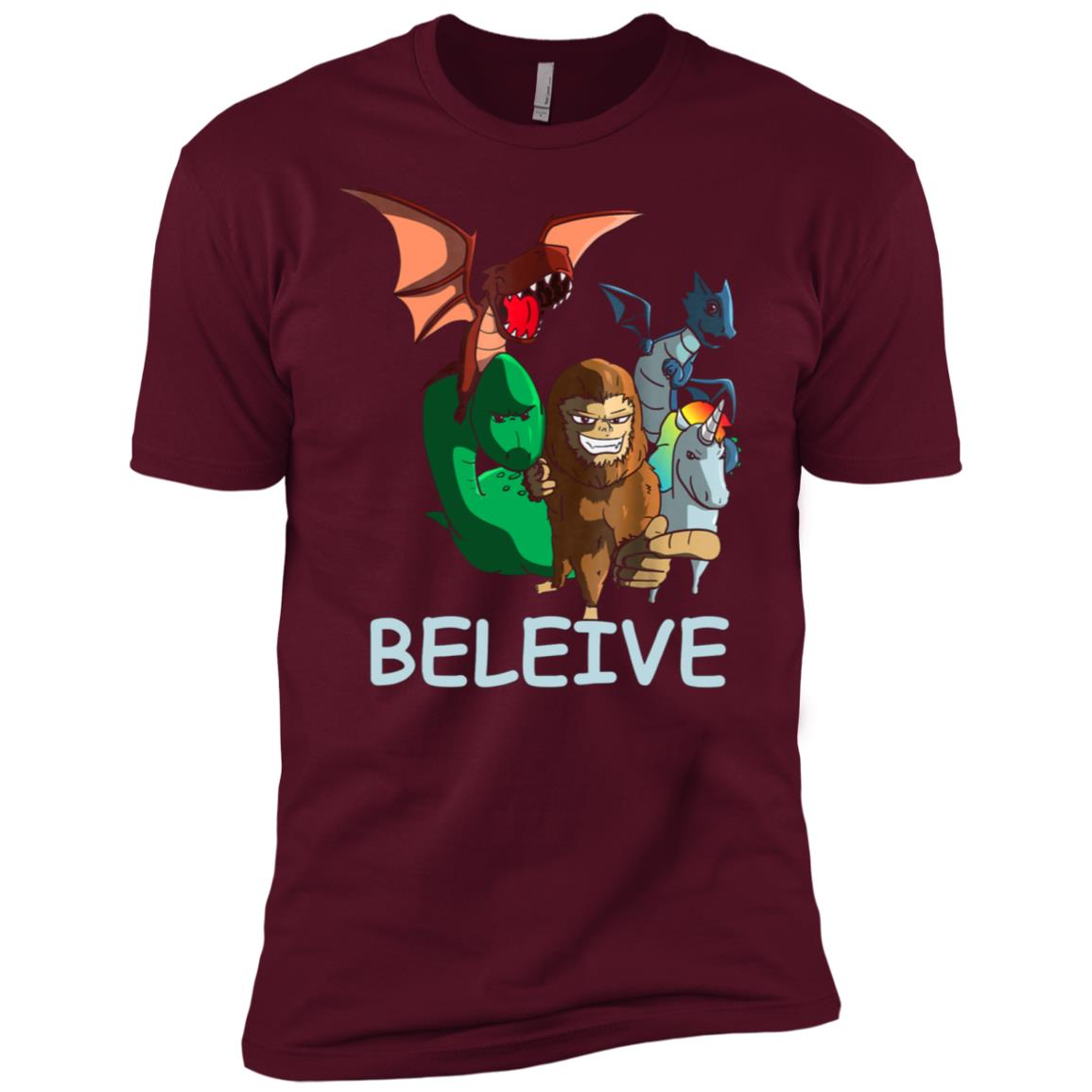 Believe Funny Bigfoot Unicorn Dragon Nessie Magic Men Short Sleeve T-Shirt