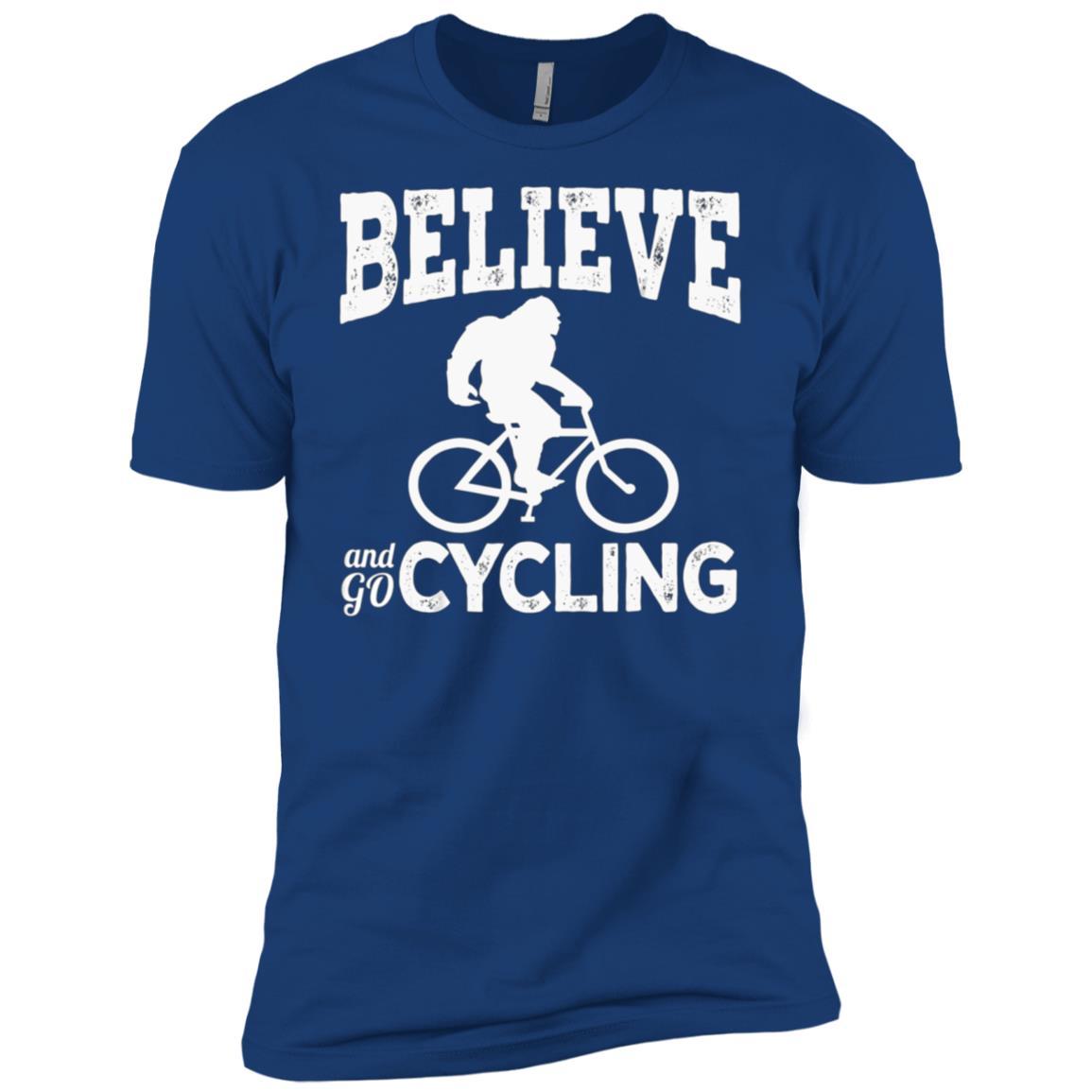 Believe Bigfoot Riding Bicycle Sasquatch Bike Tee Men Short Sleeve T-Shirt