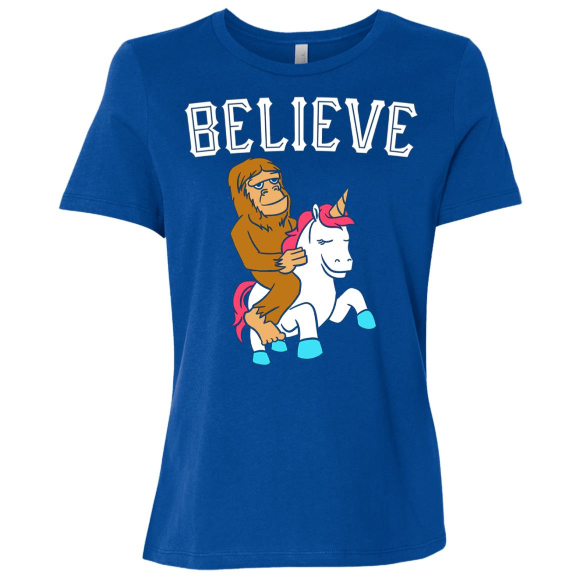 Believe Bigfoot Unicorn Funny Sasquatch Women Short Sleeve T-Shirt