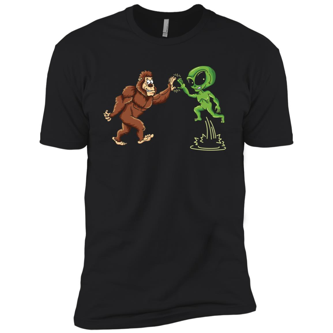 Bigfoot Alien High Five d Believers Men Short Sleeve T-Shirt