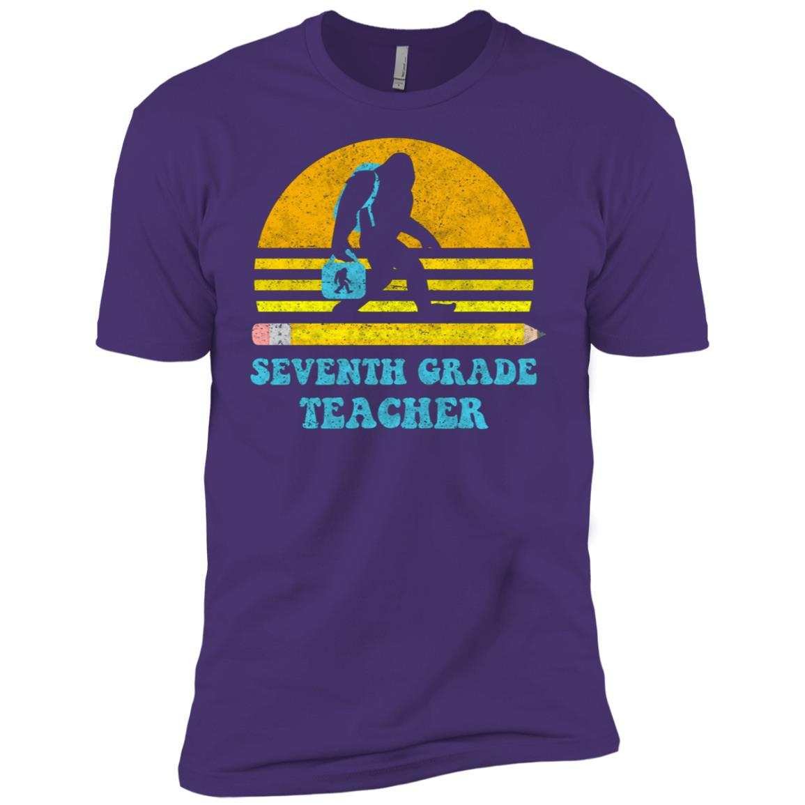 Bigfoot 7th Grade Teacher Retro Vintage School Gift Men Short Sleeve T-Shirt