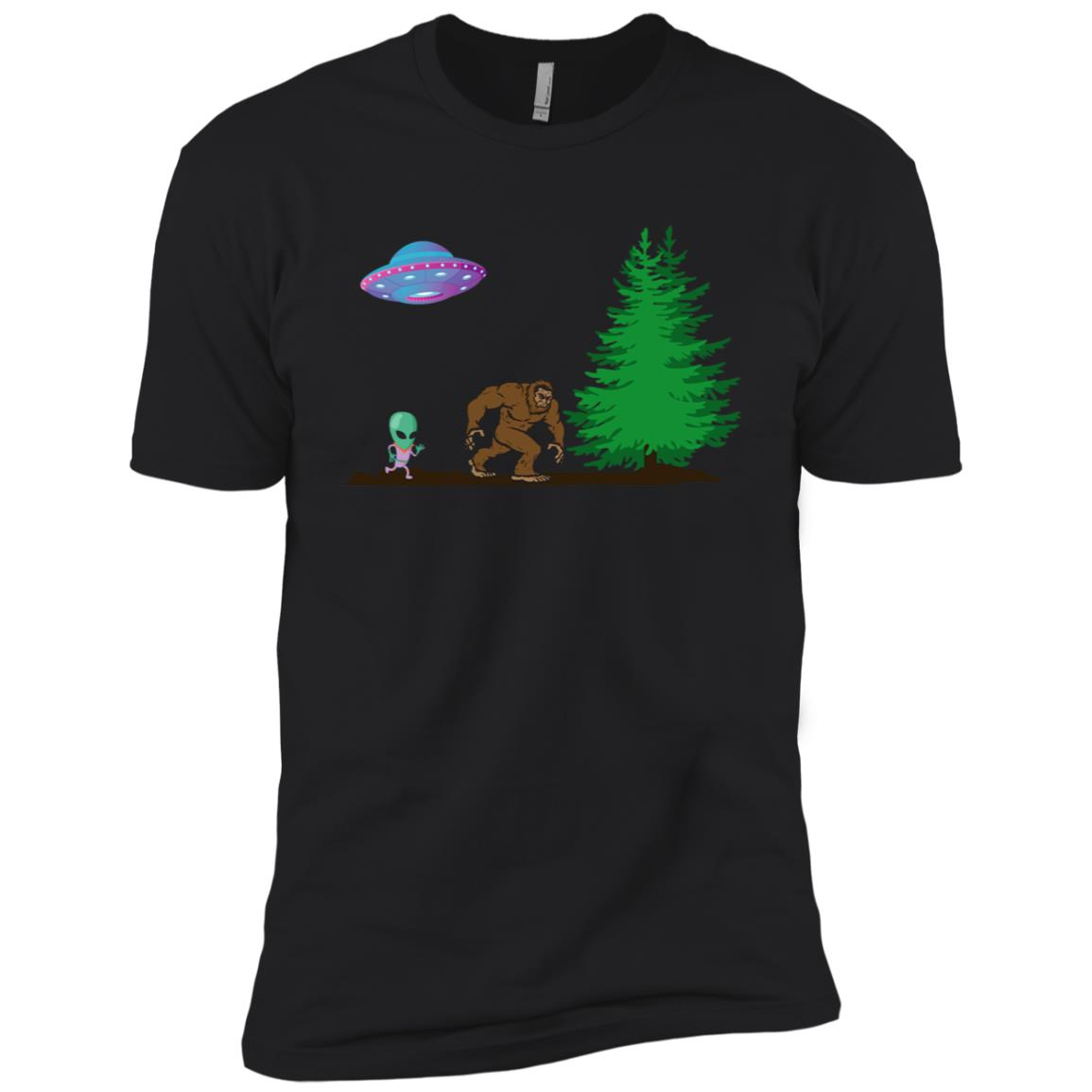 Bigfoot & Cute UFO Alien Spacecraft Men Short Sleeve T-Shirt