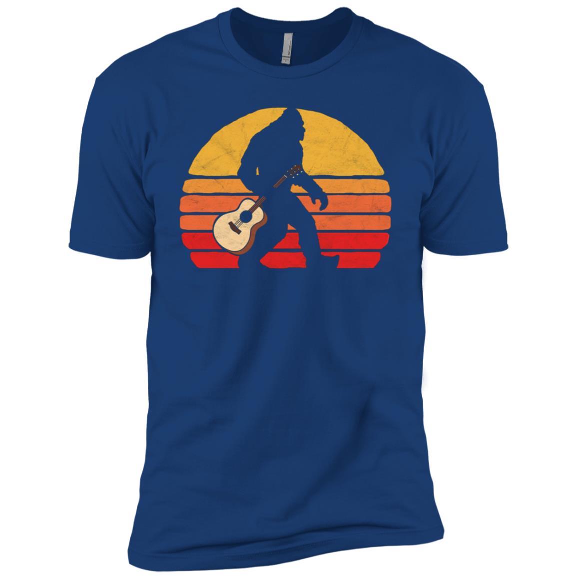 Bigfoot & Acoustic Guitar Vintage Music Men Short Sleeve T-Shirt