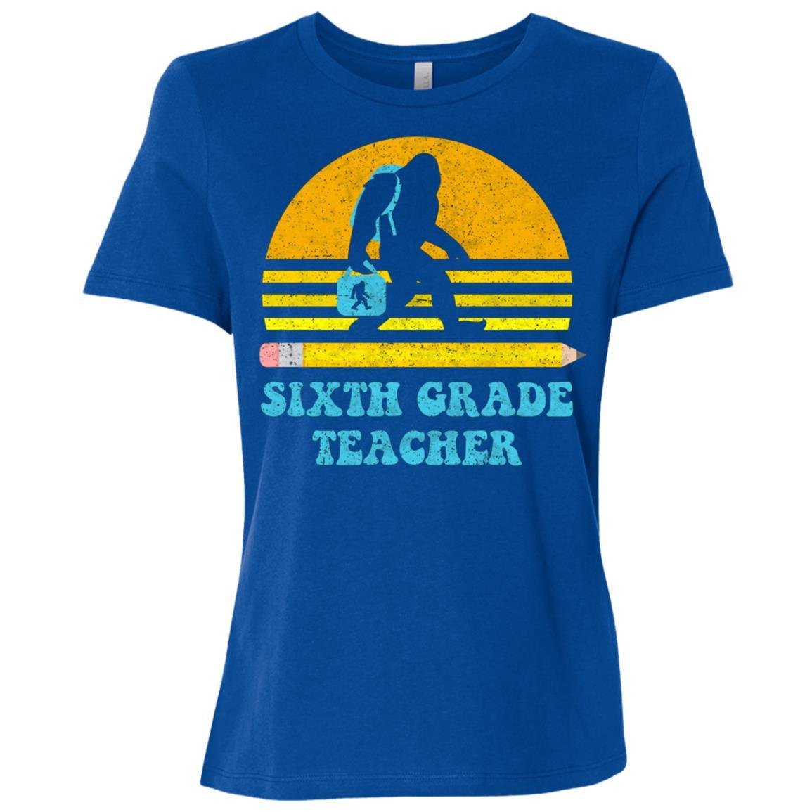 Bigfoot 6th Grade Teacher Retro Vintage School Gift Women Short Sleeve T-Shirt