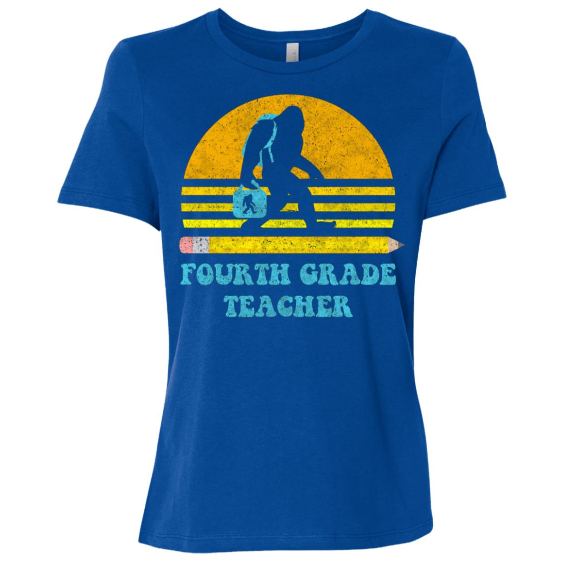 Bigfoot 4TH Grade Teacher Retro Vintage School Gift Women Short Sleeve T-Shirt