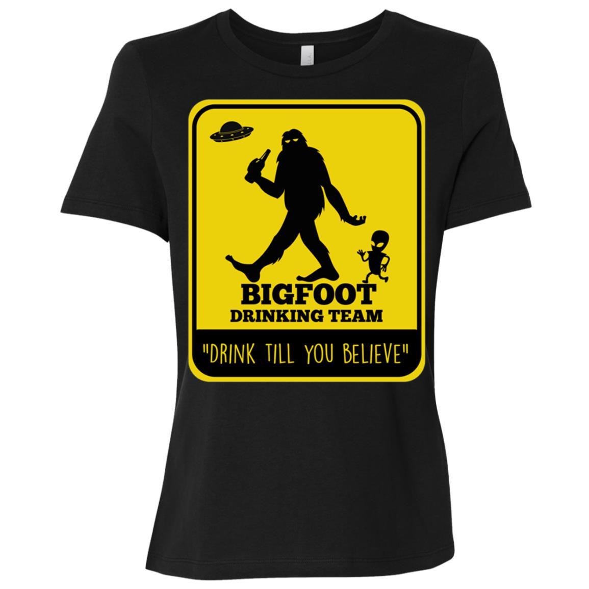 Bigfoot & UFO Alien Spacecraft Drinking Beer Tee Women Short Sleeve T-Shirt