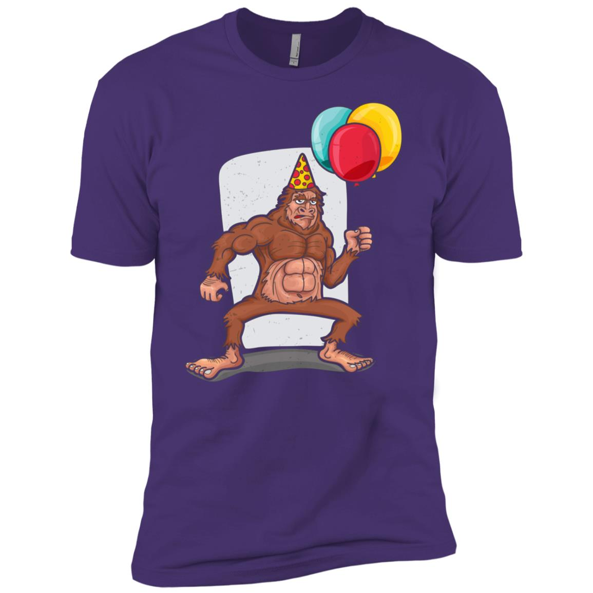 Bigfoot Carrying balloons Birthday hat Men Short Sleeve T-Shirt