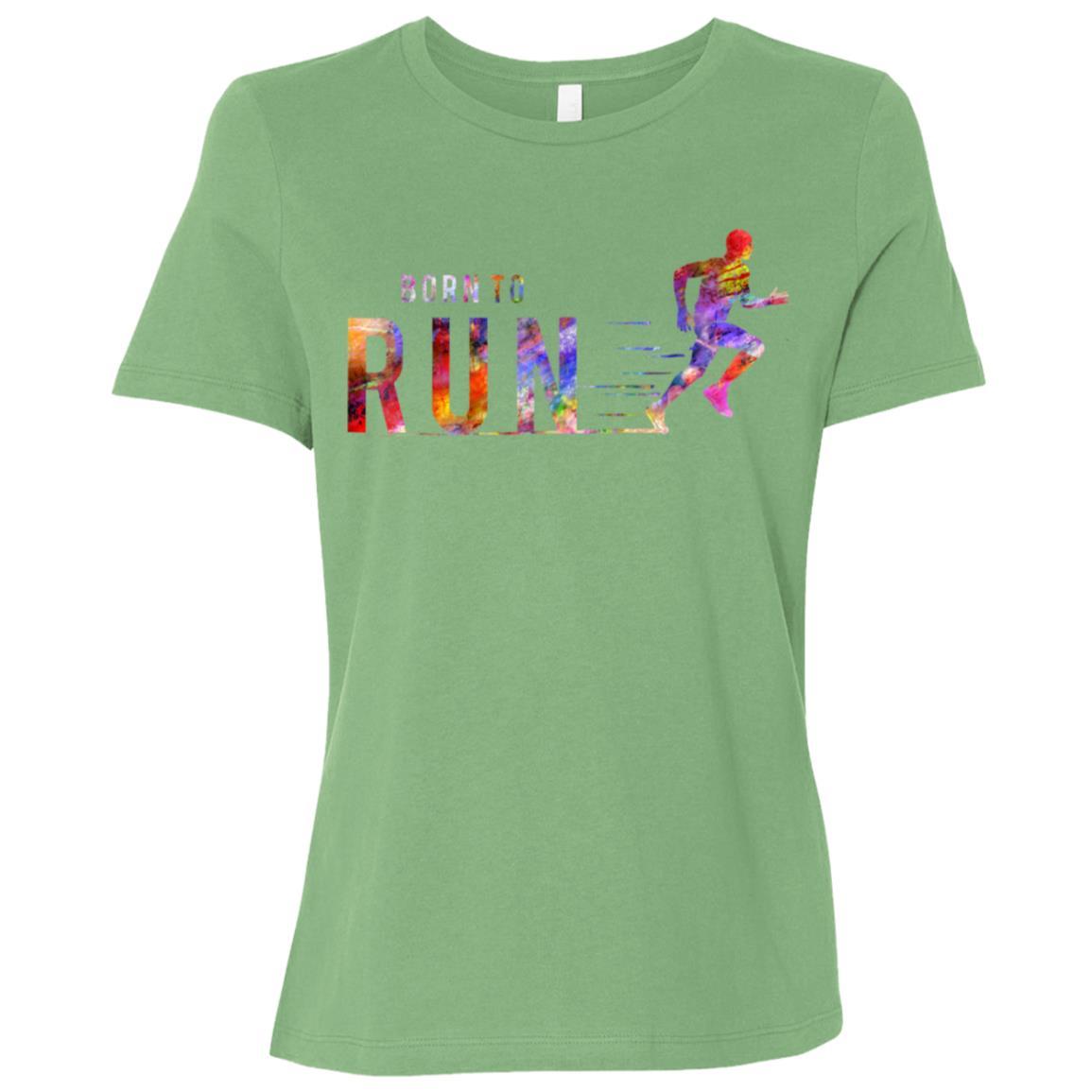 Born to Run Marathon Run Sports Colorful Women Short Sleeve T-Shirt