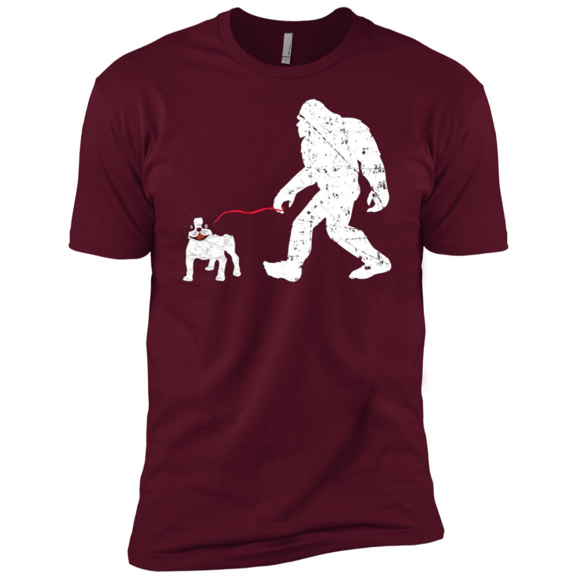 Bigfoot Bigfoot Walking French Bulldog Funny Gift Tee Men Short Sleeve T-Shirt