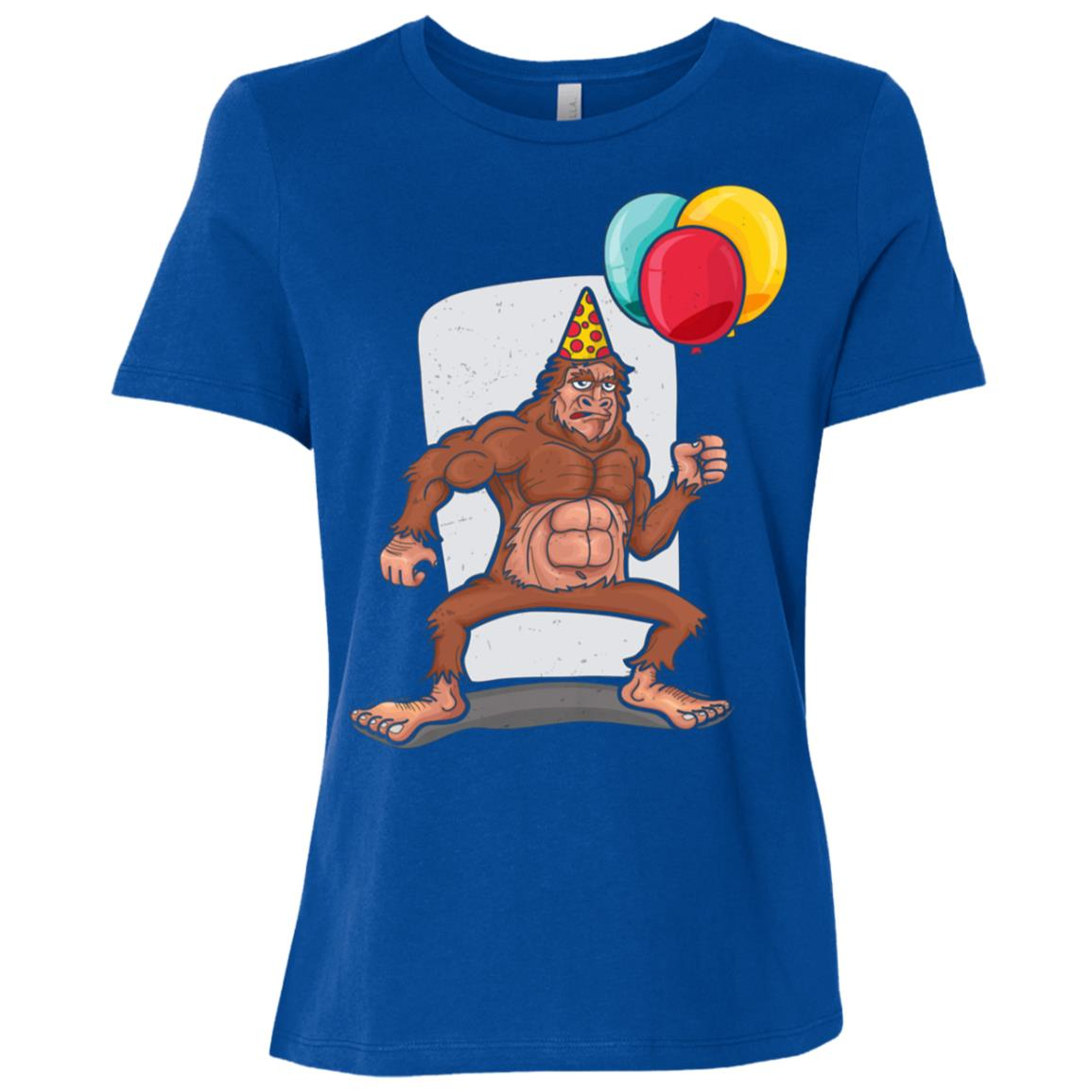 Bigfoot Carrying balloons Birthday hat Women Short Sleeve T-Shirt