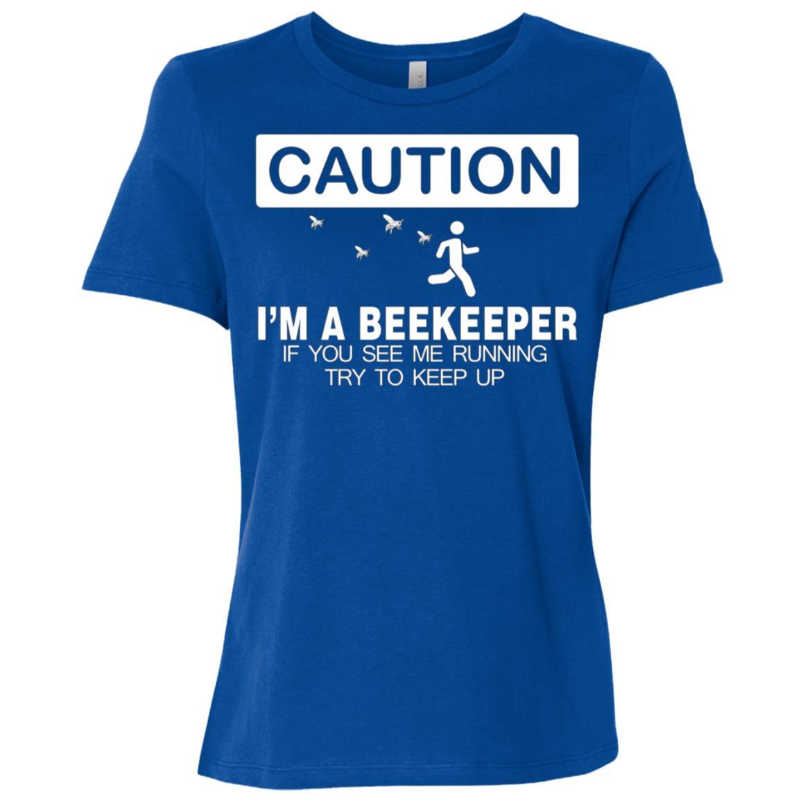 Beekeeper Caution Keep Running Gifts Women Short Sleeve T-Shirt
