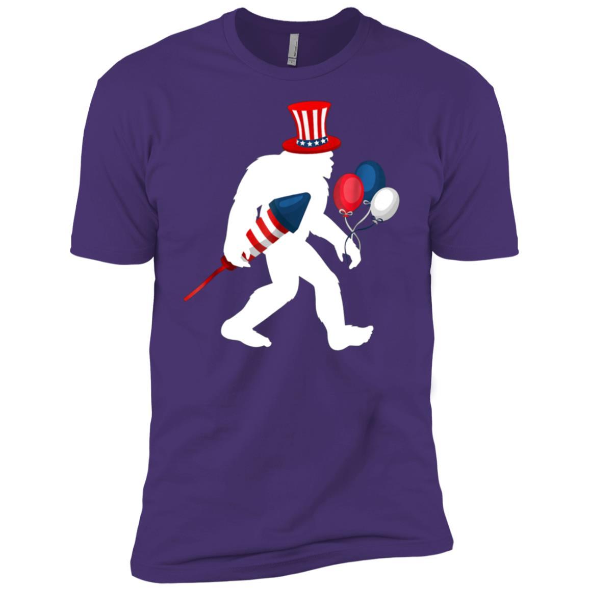Bigfoot Patriotic American Flag Men Short Sleeve T-Shirt