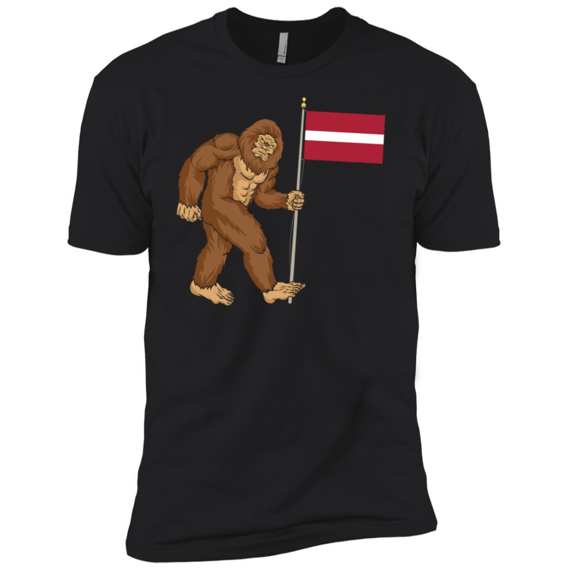 Bigfoot Latvia Flag – Funny Latvians Men Short Sleeve T-Shirt
