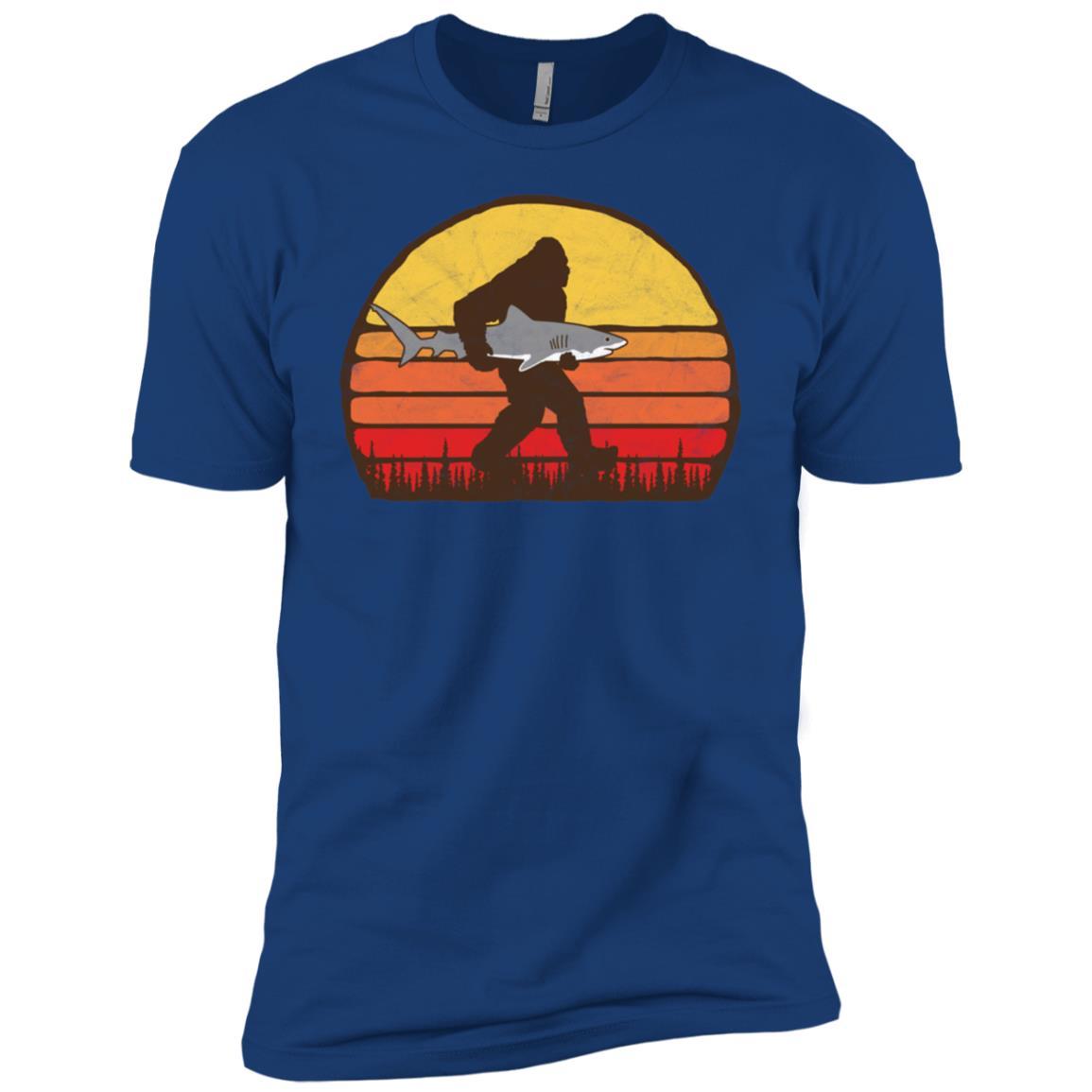 Bigfoot Silhouette & Great White Shark Sun-3 Men Short Sleeve T-Shirt
