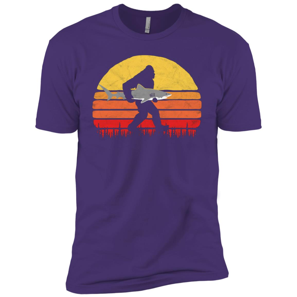 Bigfoot Silhouette & Great White Shark Sun Men Short Sleeve T-Shirt