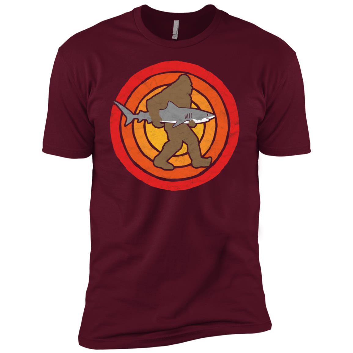 Bigfoot Silhouette & Great White Shark Sun-2 Men Short Sleeve T-Shirt