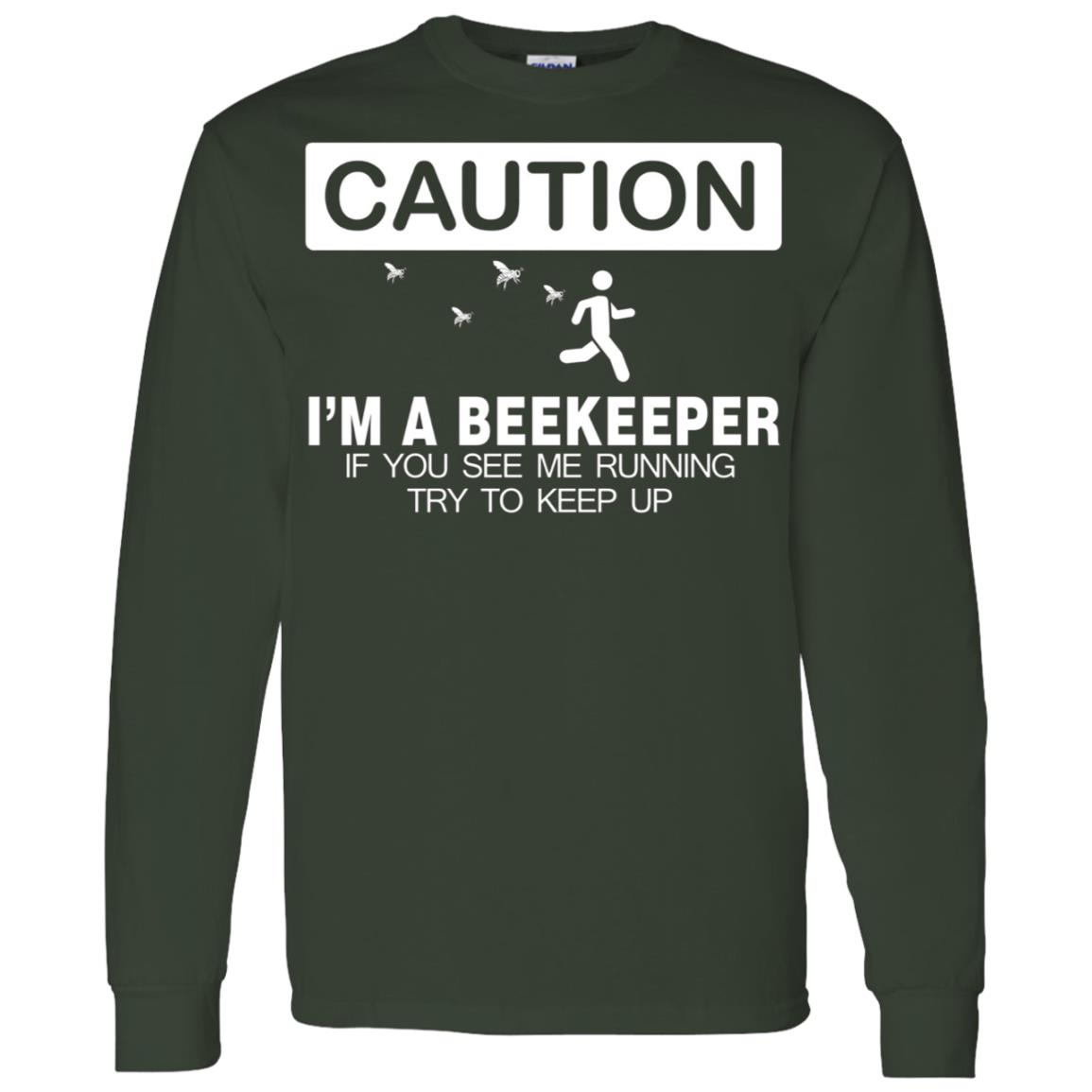 Beekeeper Caution Keep Running Gifts Men Long Sleeve T-Shirt