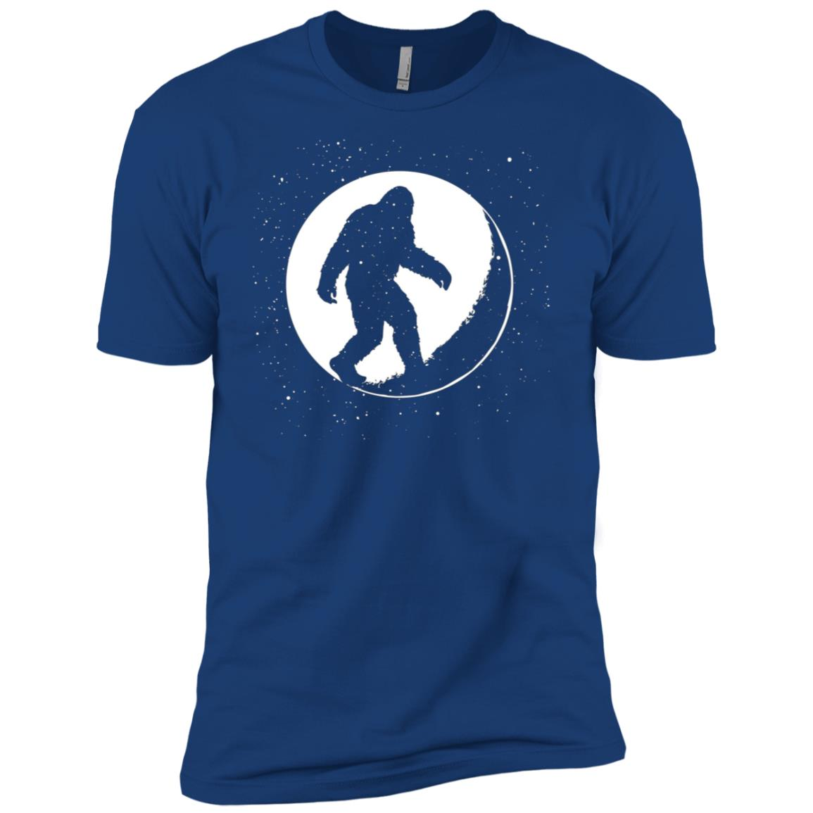 Bigfoot Walking on the Moon with Stars Men Short Sleeve T-Shirt