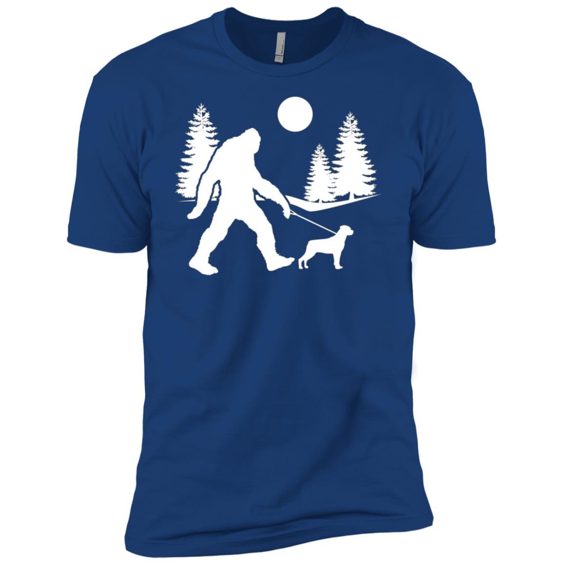 Bigfoot Walking Dog Rottweiler Men Short Sleeve T-Shirt