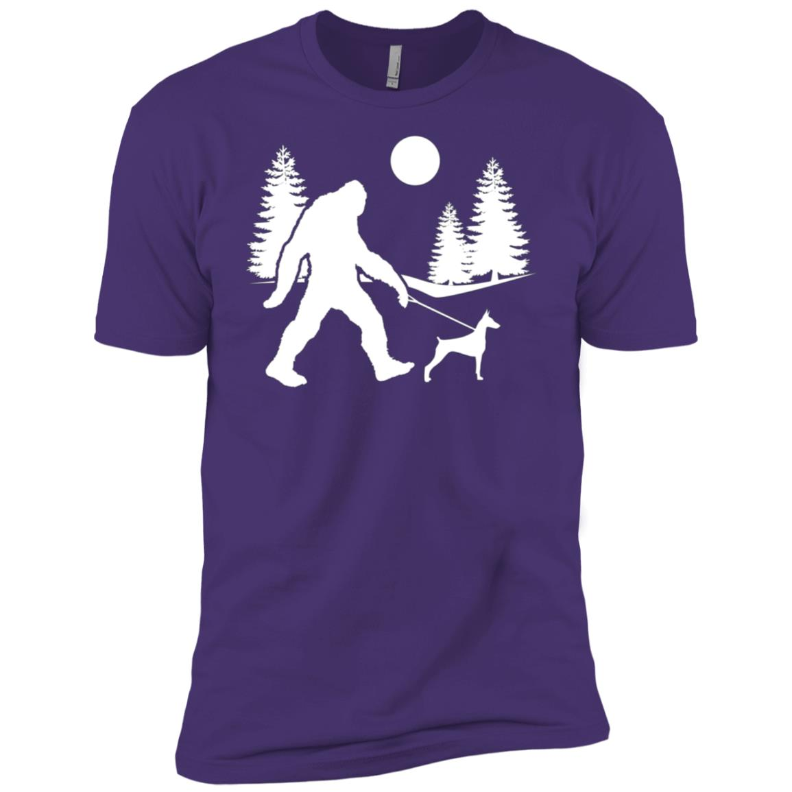 Bigfoot Walking Dog Dobermann Men Short Sleeve T-Shirt