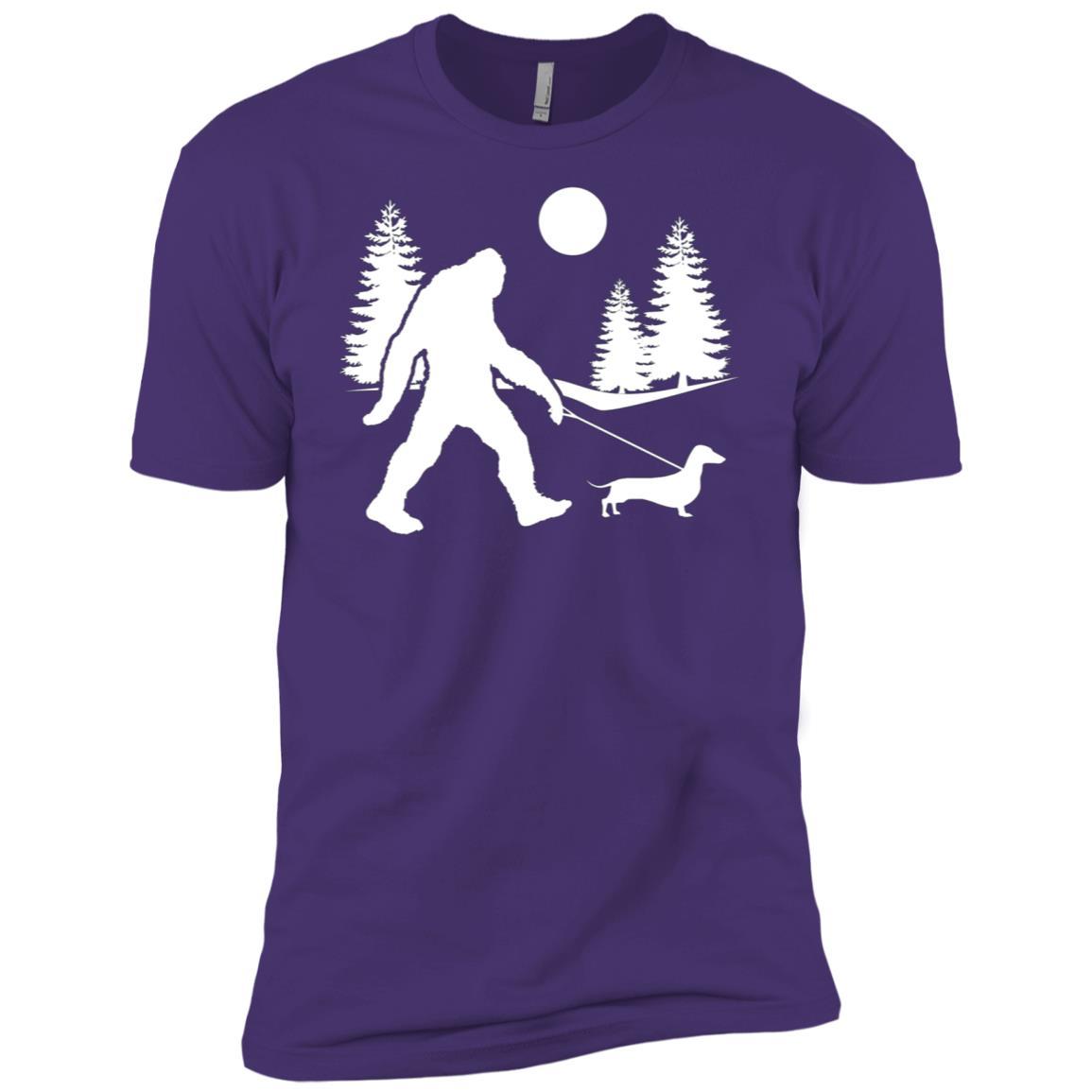 Bigfoot Walking Dog Dachshund Men Short Sleeve T-Shirt