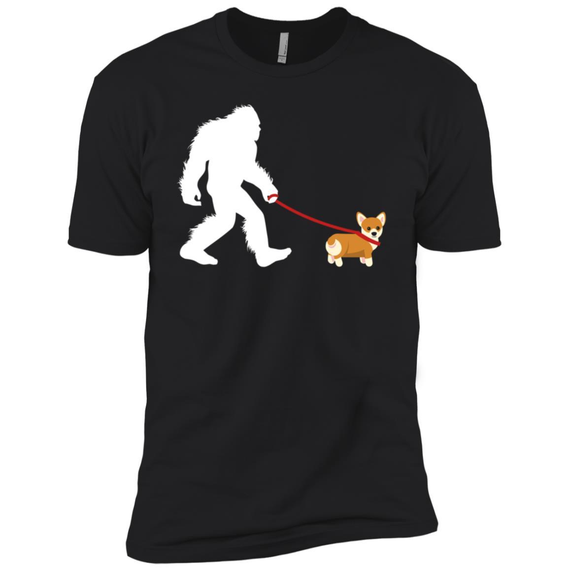 Bigfoot Walking Corgi Gift Men Short Sleeve T-Shirt