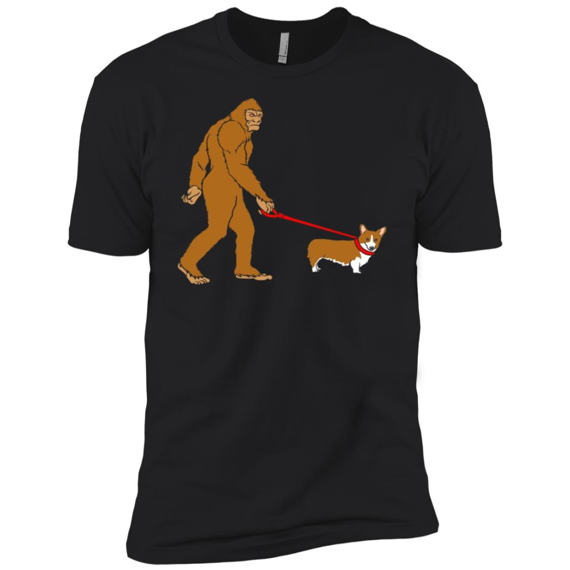 Bigfoot Walking Corgi Dog Funny Men Short Sleeve T-Shirt