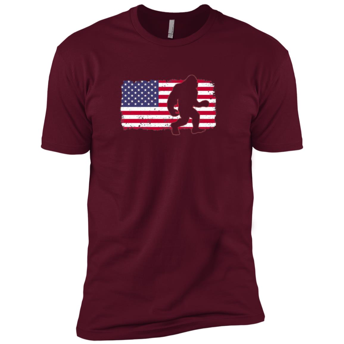 Bigfoot USA Flag 4th July Stars Stripes Tee Men Short Sleeve T-Shirt
