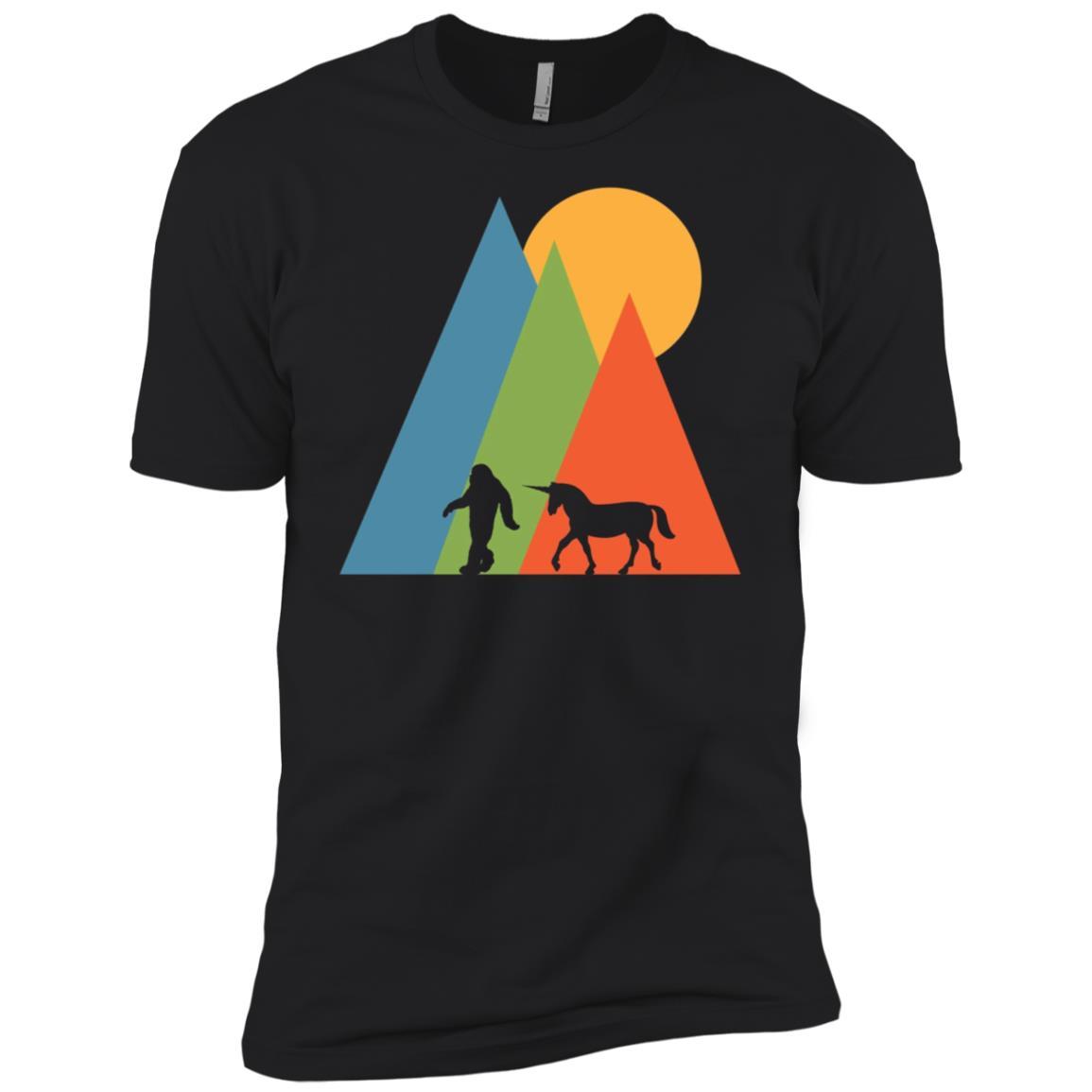 Bigfoot Unicorn Mountain and Sun Hidden Creatures Men Short Sleeve T-Shirt