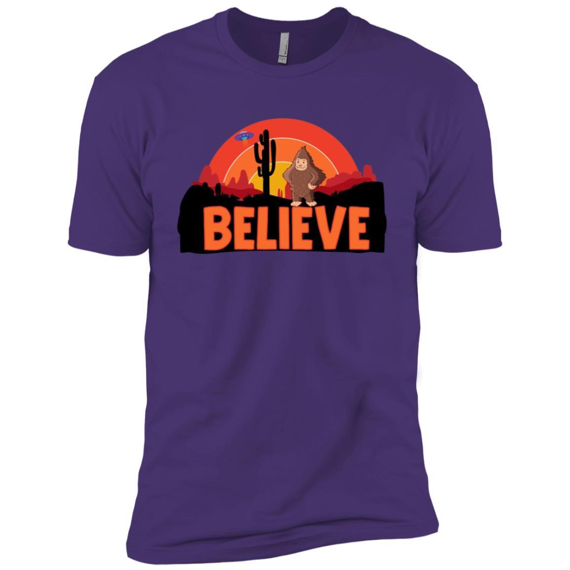 Bigfoot UFO In The Desert Believe Graphic Tee Men Short Sleeve T-Shirt