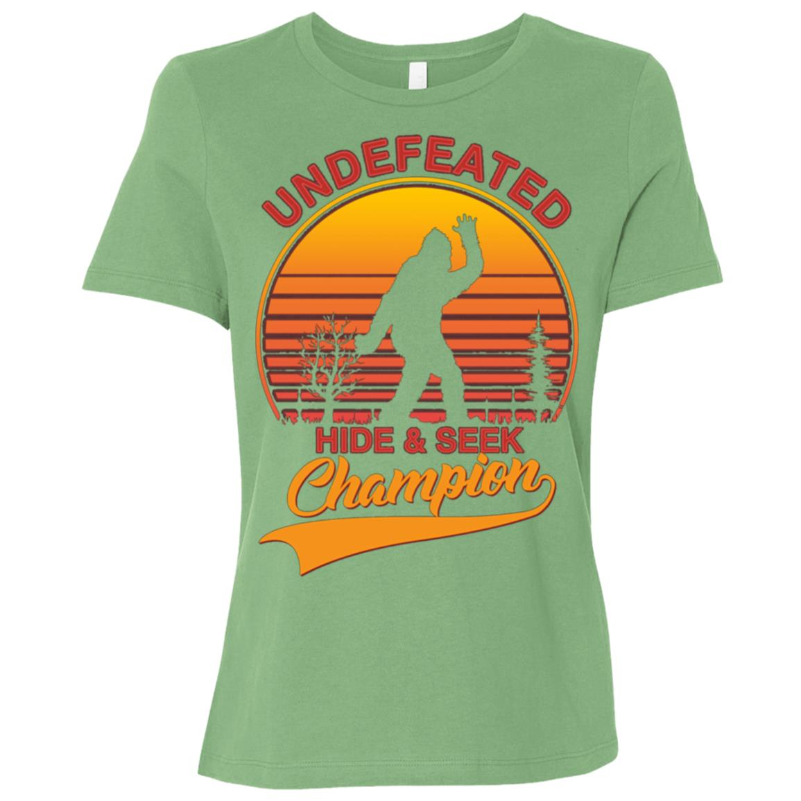 Bigfoot Undefeated Hide & Seek Sasquatch Yeti Gift-3 Women Short Sleeve T-Shirt