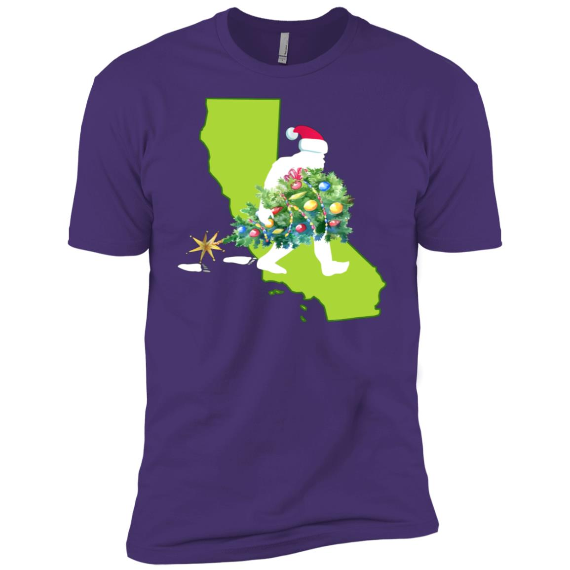 California Bigfoot State Christmas Tree Men Short Sleeve T-Shirt