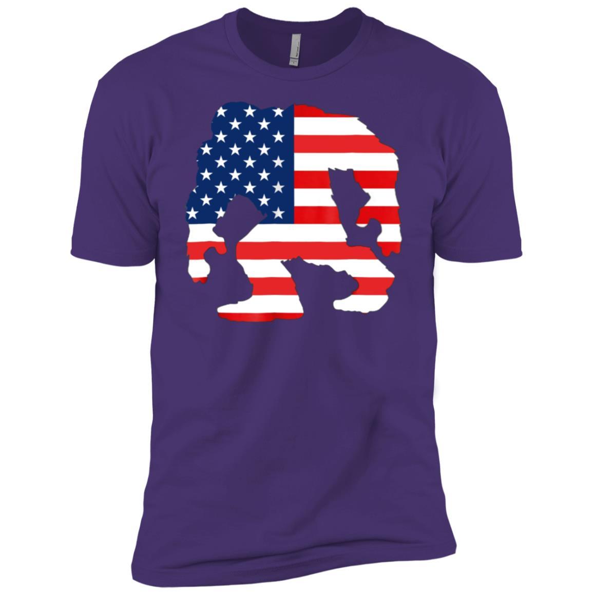 Bigfoot Wrap American Flag Bigfoot Silhouette Men Short Sleeve T-Shirt
