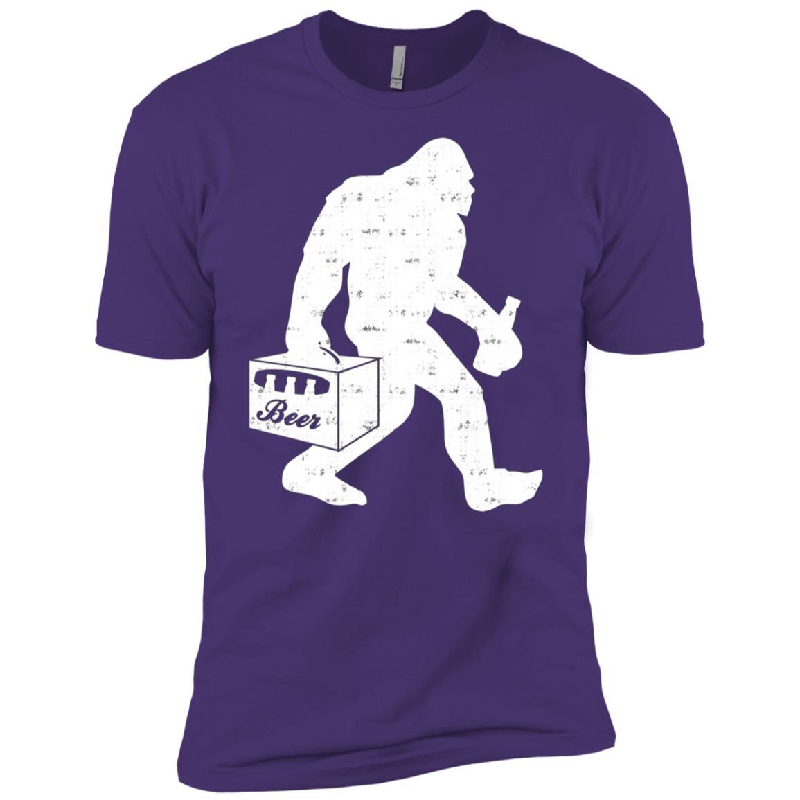 Bigfoot With Beer Funny Vintage Gift Men Short Sleeve T-Shirt